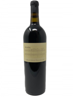 A bottle of 2007 Arietta 'H Block Hudson Vineyards' Cabernet Franc wine.