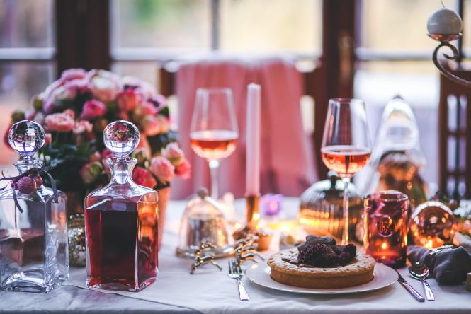 An Easter dinner table with wine