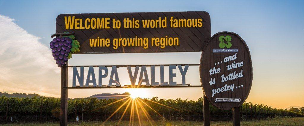 Napa Valley sign at sunset.